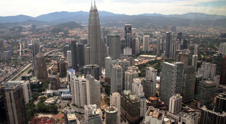 The View of the Petronas Towers from the Kuala Lumpur Tower.