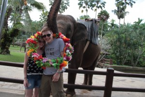 Elephant placing a ring of flowers over our heads.