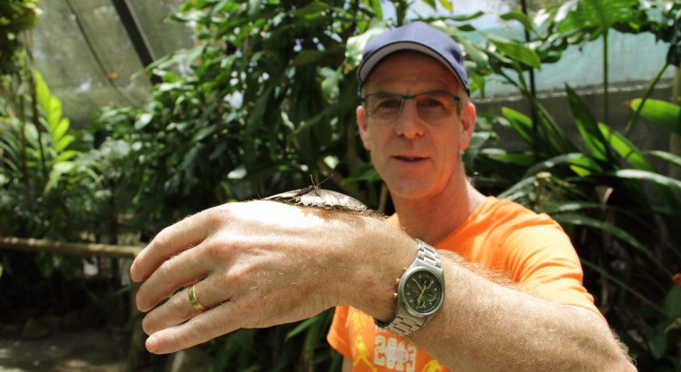 Adrian making some new friends at the Butterfly Sanctuary.